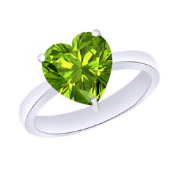 Heart Cut Green Peridot August Birthstone 9k Solid White Gold Solitaire Ring