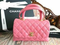 CHANEL Coco Handle Hand Bag Chain Shoulder Rose Pink Grained Caviar A92990 19SS