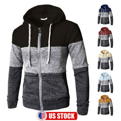 Men Warm Hoodie Hooded Sweatshirt Zip Coat Jacket Jumper Winter Sweater Outwear