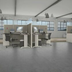 6x6 Cubicles-66h -2 Man Back-to-back Glazed Workstations With Pedestals-e