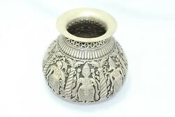 Antique Handmade India Temple Holy Water Pot Kalash Solid Silver Hand Carved