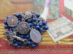 1800s Med Antique French Blue Lapiz Lazuli Glass Beads Rosary-st Silver/medals