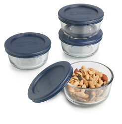 Anchor Hocking Classic Glass Food Storage Containers With Lids Blue 1 82628l11