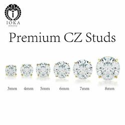 14k Real Gold Cubic Zirconia Cz Round Stud Earrings Screw Back 3-8mm