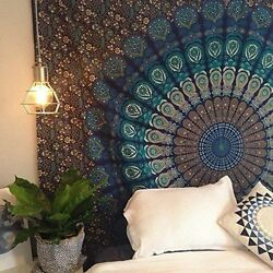 Blue Turquoise Color Mandala Indian Hippie Wall Tapestry Room Decor Bohemian Art