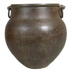 Large Antique South Indian Hammered Brass Water Storage Pot 19th Century