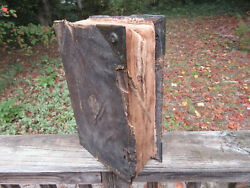 Antique 1600and039s Family German Bible 15 X 10 X 4 1/2 Wood And Leather Cover