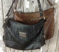 2 RELIC Collection Bags Purse Designer Black & Brown Aligator Faux Leather