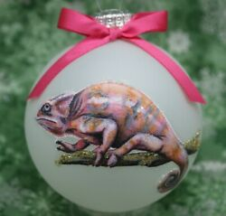 A035 Hand made Christmas Ornament exotic reptile panther chameleon pink female