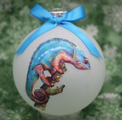 A036 Hand made Christmas Ornament exotic reptile panther chameleon blue orange