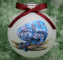 A037 Hand made Christmas Ornament exotic reptile panther chameleon blue magenta