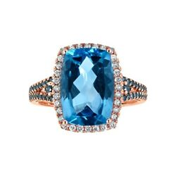 Swiss Blue Topaz And 1/2 Ct. Tw. White And Blue Diamond Ring In 10k Rose Gold