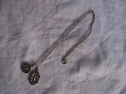 Antique French Solid Silver Religious Medals With Chain,late 19th Century.