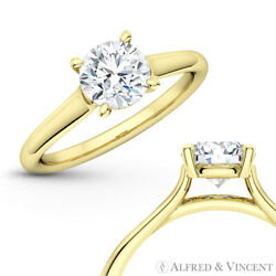 Forever One G-h-i Round Moissanite 4pr Solitaire 14k Yellow Gold Engagement Ring