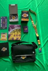 Los Angeles Lakers Nba Sports Crate Collectibles Lot Of 9 Different Banner+more
