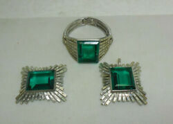 Trifari Suite Alfred Philippe Emerald Color And Baguettes Bracelet Pin And Pendant