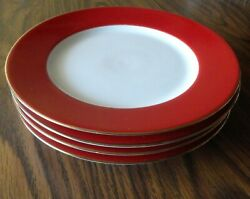 4 Crate And Barrel White Center W Wide Red Band W Gold Rim China Salad Plates
