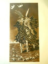 Antique Masquerade Print Signed And Numbered 3/30 Spooky Bats Costume Figures City
