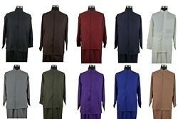 Menand039s Band Collar Long Sleeve Two Piece Sets Casual Walking Suits M2826