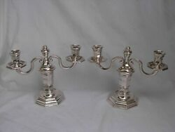 Christofle For Galliapair Of French Art Deco Silverplated Candle Holders..