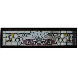 Antique American Victorian Beveled And Jewelled Glass Transom Window 19th Century