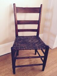 Antique 19th C Shaker Straight Chair Woven Seat Milk Paint Remnant