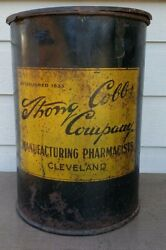 Rare Strong Cobb Co. Cleveland Large Pharmacy Can Drum 18 X 13 Canco 100lbs