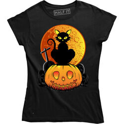 Cat And Pumpkin Ghost Halloween Gift T shirt Funny Costume Party Women#x27;s Tee $17.88