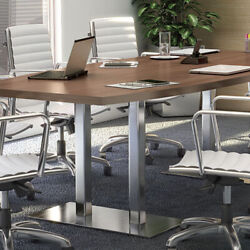 8ft - 24ft Modern Conference Boardroom Table With Metal Bases