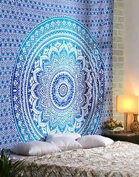 Ombre Blue Single Mandala Hippie Wall Tapestry Home Dorm Bohemian Tapestry Throw