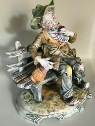 LARGE CAPODIMONTE PORCELAIN HOBO ON BENCH FIGURINE BUM TRAMP 10quot; ITALY $125.00