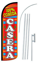 100 Comida Casera Banner Flag Sign Kit Windless Swooper Feather Advertising