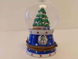 Limoges Trinket Box Christmas Snow Globe With Tree And Presents