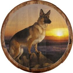 Whiskey Barrel Head German Sheppard Dog Pearched On Rocks Water Sunset Bar Sign