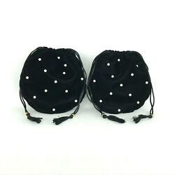 New Handmade Black Velvet Satin-lined Round Drawstring Pouch With Faux Pearls