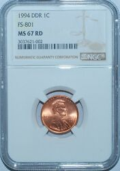 1994 Ngc Ms67rd Fs-801 Red Double Doubled Die Reverse Lincoln Cent Tied 4 Finest
