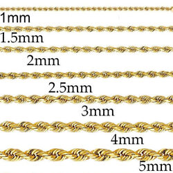 Yellow Gold 14k Mens Womens Solid Rope Chain Necklace 1mm - 5mm 16 - 30