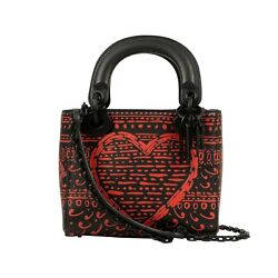NWT CHRISTIAN DIOR Black Leather 'Lady Dior' Red Design Mini Shoulder Bag $3550