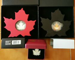 2015 2016 Canada Maple Leaf Silver Shape Silhouette Reflections 3 Coin Sets