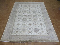 9'2 X 12 Hand Knotted Ivory Gray Turkish Bamboo Silk Oushak Oriental Rug G8156