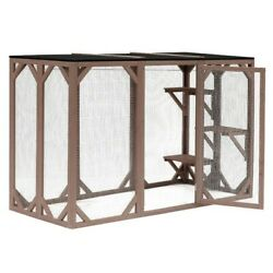Pawhut Outdoor 3 Platforms Wooden Frame Cat Cage Pet House Small Animal Shelter