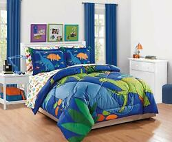 Mk Collection 7pc Queen Comforter Set Dinosaurs Blue Green Orange Red White Di