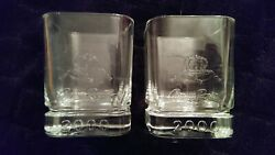 Limited Edition Crown Royal 2000 Millenium Square Base Rocks Glasses 2 New