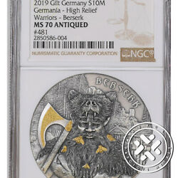 2019 Ngc Ms70 Antiqued Germania 10 Mark The Warriors Berserk 2 Oz 9999 Silver