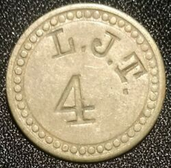 Harmans Md Canning Token L.j.t. 4 Pickers Check John Linton Tubbs Medal Coin