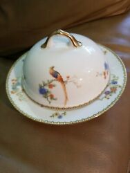 Mz Altrohlau Golden Pheasant Bird Round Butter Or Cheese Dish W/ Lid And Strainer