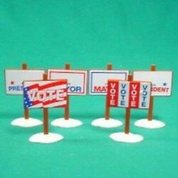 Dept 56 1995 Snow General Village Election Yard Signs 6pc 52599 Nrfb Accessory
