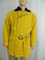 Gianni Versace Coat Vintage Yellow Quilted With Fur Collar Large Rare 1980and039s