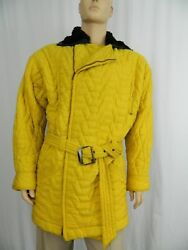 Gianni Versace Coat Vintage Yellow Quilted With Fur Collar Large Rare 1980's
