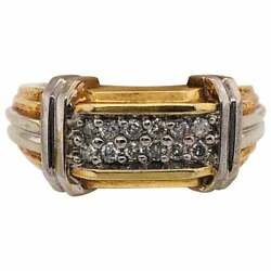 14 Karat Two-tone Gold Contemporary Ring With Diamonds 0.75 Total Diamond Weight